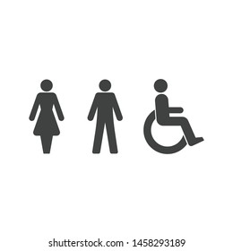 Woman, man and disabled wheelchair icon isolated on white background. WC symbol modern simple vector icon for website design, mobile app, ui. Vector Illustration