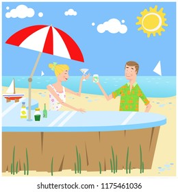 Woman and man drinking cocktail at beach bar (vector illustration)