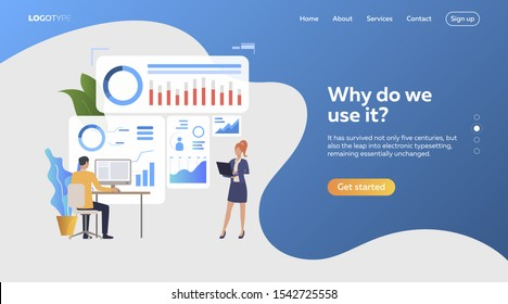 Woman and man examining diagrams. Devices, diagrams, profiles. Business concept. Vector illustration for webpage, presentation, poster