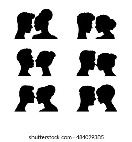 Woman and man faces. Vector illustration, eps10. Silhouettes on white background. Woman man icons, face profile. Human face vector. Black silhouette. Head vector.