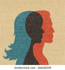 Woman and man friendship silhouettes concept vector illustration