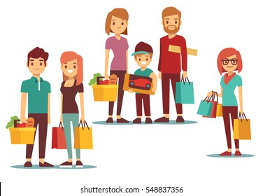 Woman and man going shopping with bags vector people set.
