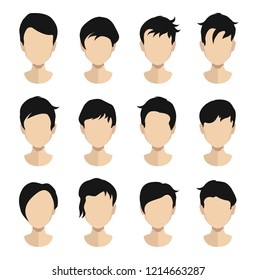 Woman , man hair, vector hairstyle in puppet