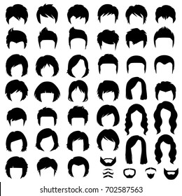 woman and man hair, vector hairstyle silhouette