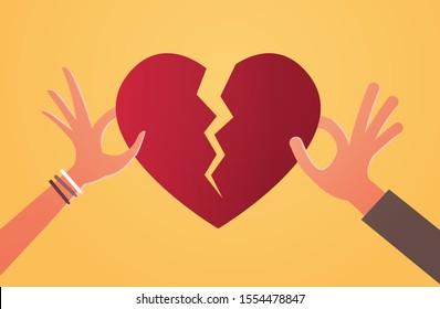 woman man hands holding pieces of broken heart depression life crisis break up divorce betrayal concept flat horizontal vector illustration