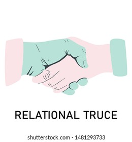 Woman and man handshake for relational truce. Isolated on white background.  Flat cartoon style. Vector illustration.