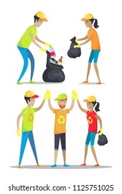Woman and man happily working, volunteering and picking up garbage, good job high-five of conscientious people set isolated on vector illustration