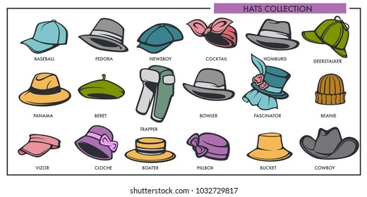 Woman and man hats models collection of retro and modern fashion type vector isolated icons