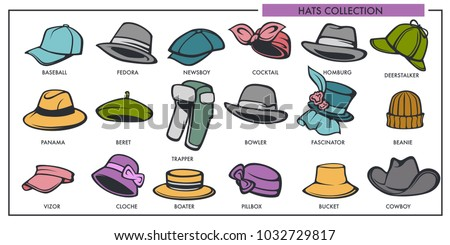59409692496 Woman and man hats models collection of retro and modern fashion type  vector isolated icons