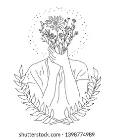 Woman or man holding flowers. Hope and happy. Vector, illustration.
