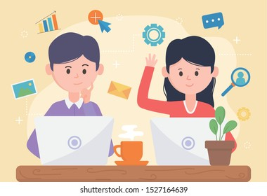 woman and man with laptop network social media vector illustration