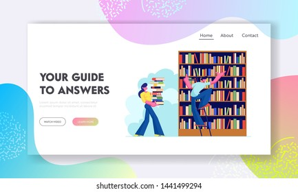 Woman and Man in Library Reading and Searching Books. Young People, Students, Spend Time in Athenaeum or Literature Archive. Website Landing Page, Web Page. Cartoon Flat Vector Illustration, Banner