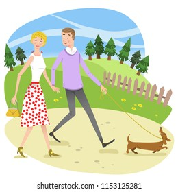 Woman and man in love, holding hands and walking a dog on a walkway (vector illustration)