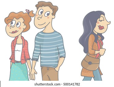 Woman and man in love relationship walking, man looking and flirting with another woman passing by. Vector cartoon of man infidelity, isolated, white background.