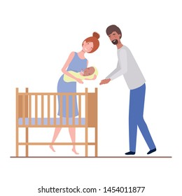 woman and man with newborn baby in the crib