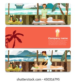 Woman and man pampering herself by enjoying day spa massage on the beach. Sale discount gift card. Branding design for massage salon