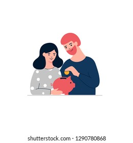Woman, man and piggy bank.  Family money saving concept  illustration