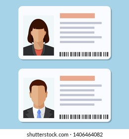 Woman and man plastic ID cards, car driver licences with male and female photo isolated on blue background. Flat style colorful vector illustration icon.