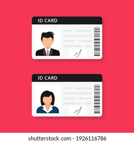 Woman and man plastic ID cards, car driver licences with male and female photo on red background. ID card, identification card, drivers license, identity verification, person data. Vector illustration
