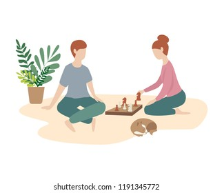 woman and man play chess together. family game, weekend, home atmosphere. Flat illustration