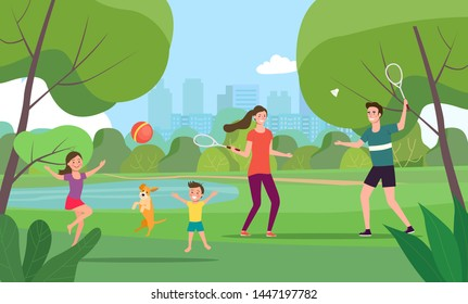 Woman and man playing badminton, boy,  girl and dog play ball in the park. Vector flat style illustration