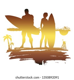 Woman and man posing with surfboard on grunge brush stroke. Palm and lifeguard tower on backdrop