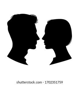 Woman and man profiles. Vector illustration