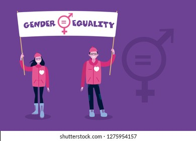 A woman and a man raising a banner with the sign of gender equality. Female and Male Symbols with Mathematical Equal Sign.