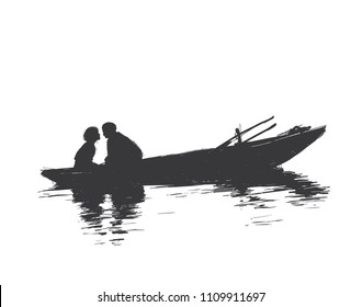 woman and a man are sitting opposite each other in a boat. Sketch