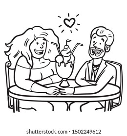 a woman and a man are sitting at the table, looking in love with each other.  chubby woman, bearded man, sundae, cartoon, monochrome.