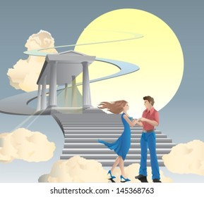 woman and man are staying in front of stairway towards sun through a temple and clouds. Vector illustration