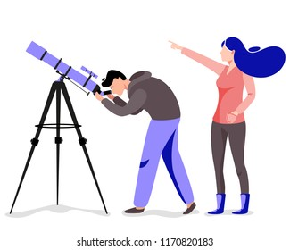 Woman and man with telescope in search of a star. Vector illustration in flat style