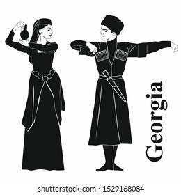 woman and man in traditional Georgian costumes. vector illustration