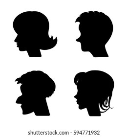 Woman and Man Vector Profiles or Cameo Silhouettes