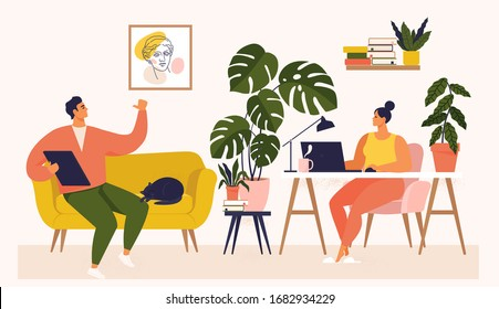 Woman and man working at desk and on sofa from home. Couple have a lot of work. Woman working with laptop at her work desk and testing ui and ux. Vector illustration of student studying at home.