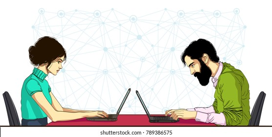 Woman and man working together offsite with cloud technologies. Persons looking at laptop and working. Vector banner of ad for header or footer