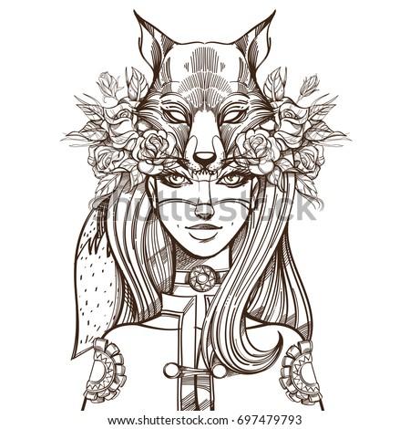 Woman Mask Fox Beautiful Girl Hat Stock Vector Royalty Free