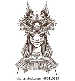 Wolf Girl Tattoo Images Stock Photos Vectors Shutterstock