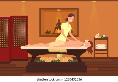 Woman at massage therapist cabinet. Beauty salon