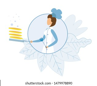 Woman Master Chef in Circle Surrounded Plants Leaves. Woman Cooking Several Pancakes on Pan Cartoon. Floating Frying Crepes and Flat Bubbles. Vector Presentation Illustration. Logo Mockup