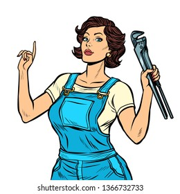 woman mechanic with a wrench isolate on white background. Pop art retro vector illustration vintage kitsch 50s 60s