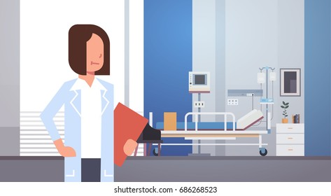 Woman Medical Doctor Clinics Hospital Interior Medicine Worker Flat Vector Illustration