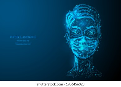 Woman in a medical mask. Protection against injection of the coronavirus COVID-19 virus. Air pollution, smoke, chemical protection, biosecurity. Innovative medicine and technology. Vector illustration