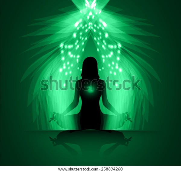 Woman Meditate Green Abstract Radius Background Stock Vector Royalty Free 258894260