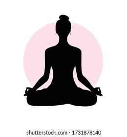 woman meditating in calm and relaxing black. healthy recreation black