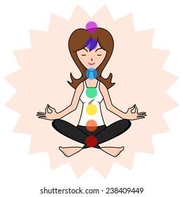 Woman meditating, chakra energy location, isolated, vector illustration