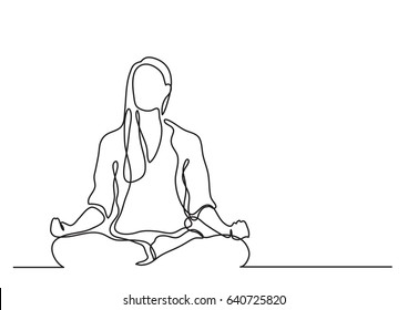 woman meditating - continuous line drawing