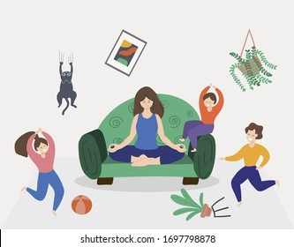 Woman meditating in lotus pose. Calm mom and naughty mischievous children running around her. Hand drawn vector illustration in flat cartoon style.