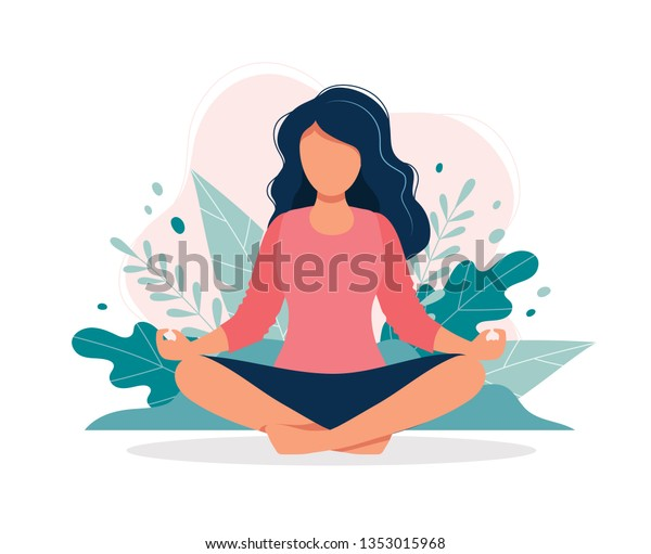 Woman meditating in nature and leaves. Concept illustration for yoga, meditation, relax, recreation, healthy lifestyle. Vector illustration in flat cartoon style