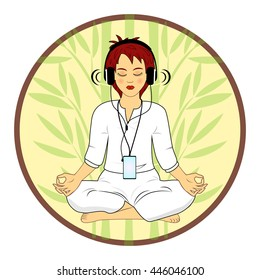 Woman in meditating pose hearing relax music